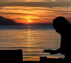 A Lemnos Sunset (Mount Athos - View from Blue Waves Cafe-Bar - Myrina ) Olympus OMD EM5II & mZuiko 40-150mm f2.8 Pro Zoom (1 of 1) (markdbaynham) Tags: sunset colour clouds island greek view zoom hellas evil olympus mount greece grecia pro gr zuiko omd athos csc oly mz limnos hellenic m43 zd mft lemnos myrina em5 mirrorless micro43 microfourthird micro43rd mzuiko m43rd em5ii zuikolic