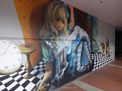 Outside the Library (1) (margaretpaul) Tags: library murals frankston aliceinwonderland