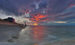 Redcar Vertical Pier Sunset Panorama. (paul downing) Tags: sunset nikon northsea 12 filters hitech northyorkshire windfarm redcar gnd pd1001 pauldowning d7200 verticalpier pauldowningphotography