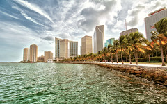 Bayfront Park - Miami, Florida (Andrea Moscato) Tags: park street city blue trees light shadow sea sky parco usa white seascape reflection green water skyline clouds america skyscraper buildings coast us downtown nuvole day mare waves cityscape view unitedstates walk vivid palm vista acqua statiuniti andreamoscato