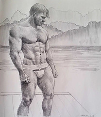 The Coach Kevin (talien73) Tags: man male sketch body drawing masculine muscle study figure