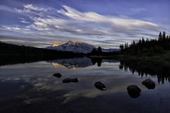 First Light at Two Jack Lake (Jeff Clow) Tags: morning travel canada reflection nature landscape outside outdoors dawn scenery alberta serenity serene scenics mountrundle firstlight canadianrockies twojacklake beautyinnature