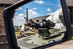 Objects In The Mirror Are Closer Than They Appear. (aquanout) Tags: tank military mirroy reflection sky clouds blue armour