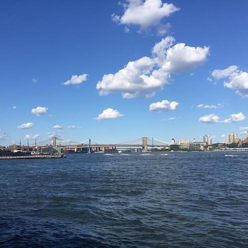 #manhattanbridge #brooklynbridge #photooftheday #photography #clouds #ferryboats #bluewater  #daytrip #goodcompany #friendsforkeeps #iphone6 #shotoniphone