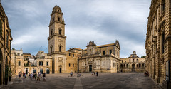 Piazza del Duomo - Lecce, Italy - Travel photography (Giuseppe Milo (www.pixael.com)) Tags: fineart square prints italy lecce print piazza european baroque city cityscape italia duomo orange clouds architecture church blue photograph sky horizontal travel depth photography photo colors urban wallart europe geotagged yellow puglia it onsale