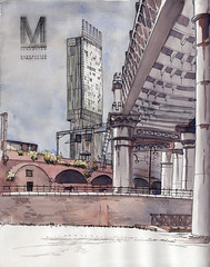 Manchester, Castlefield (Namtra) Tags: arnohartmann beethamtower manchester castlefield uskmanchester2016 pencil fineliner pencildrawing urbansketchers urbansketch aquarell watercolour watercolor