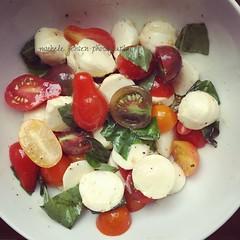 summer eating (m i c h e l e j e n s e n [photography]) Tags: caprese tomatoes heirloomtomatoes healthy food summer basil mozzarella cheese