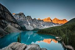 Moraine Lake (Dan Fleury) Tags: travel sky water blue cold sunrise morning mountain parkscanada park nationalpark banff lake moraine cans2s alberta improvementdistrictno9 canada ca