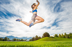 A warmer day (Flickr_Rick) Tags: outside autumn athletic woman brunette jump jumping jumpology girl jamie