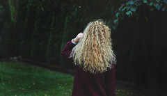 somewhere far away (grzalczi) Tags: forest curly curlyhair blonde blond ringlets girl green nikon nikkor nature natural autumn autoportrait art model colorful colors bordo sad october watch woman hair trees garden girly daylight outdoor poland portrait park day