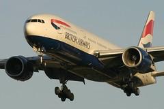 GYMML-04nov06 (Shaun Grist) Tags: sunset london airport heathrow aircraft aviation landing airline ba boeing britishairways 777 londonheathrow 777200 27l gymml