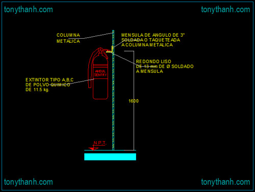 Fire extinguisher cad block sample, fire fighting