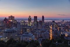 Sunrise on Montreal (julien. H) Tags: city morning travel winter sunset red summer sky orange sun canada color sunrise canon eos evening cityscape view quebec top montreal pic 60d