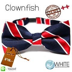 Clownfish - หูกระต่าย ลายเฉียง สี น้ำเงิน คาด แดง ขาว Premium Quality