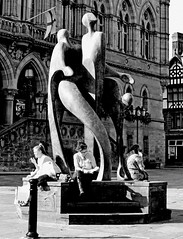 Art and life. (Explored) (lwts2000) Tags: street people urban sculpture white black statue cheshire candid chester explored