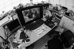 This Is Work (dieysi) Tags: blackandwhite office fisheye workplace workstation wacom cintiq bwchallenge intuous a6000 emount sel16f28 vclecf1 ilce6000 sonya6000