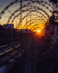 barbed. (angsthase.) Tags: sunset blur fence germany deutschland cityscape bokeh barbedwire nrw zaun ruhrgebiet witten stacheldraht 2014 ruhrpott mft micro43 olympusm45mmf18 epl5 olympuspenepl5