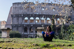 yoga (potnia_theron) Tags: park morning italy woman rome nature yoga lady focus arch exercise colosseum teacher balance meditation position asana lessons concentrate crosslegged prestise