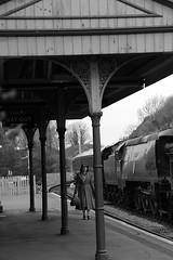SwR 27113bw (kgvuk) Tags: station trains railwaystation locomotive corfe railways steamtrain corfecastle steamlocomotive manston 462 battleofbritainclass swanagerailway corfecastlestation 34070