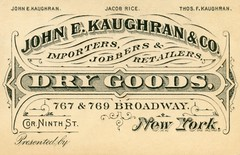 John E. Kaughran, Dry Goods, New York (Alan Mays) Tags: old newyorkcity blue trees red white ny newyork black men green spools vintage ads paper advertising typography funny humorous rice antique connecticut quality stripes humor 19thcentury victorian hats beards balls ct illustrations patriotic ephemera accidents goats businesscards type amusing broadwayavenue 9thstreet sublime advertisements fonts carts printed watertown jugglers drygoods unclesam threads companies typefaces conn manufacturers nineteenthcentury runover heminway ninthstreet retailers importers jobbers fillintheblanks tradecards warranted goatcarts jacobrice footjugglers kaughran jekaughranco jekaughran johnekaughran thomasfkaughran mheminwaysons mheminway