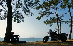 Day Off (greggusan) Tags: man beach bike masculine manly pipe smoking serenity motorcycle biker smoker relaxation sillhouette pipesmoker