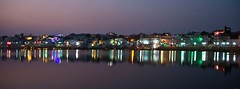 Pushkar sarovar by night (Sapna Kapoor) Tags: light india worship pushkar rajasthan ghat holyplace sarowar