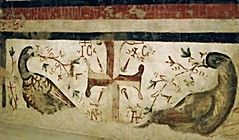 """Peacocks (=Resurrection's Symbol) and Cross with inscription IC XC NH KA (=Jesus Christ wins) - Detail - """"The Virgin Mary with Child and Saints"""" - fresco 9th century - Church of Santa Maria della Sanit in Naples (* Karl *) Tags: italy cross peacock naples churchofsanit"""