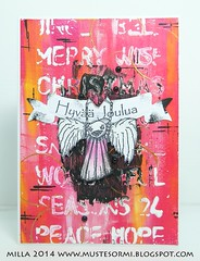 A different kind of angel (Milla*Mustesormi) Tags: mixedmedia card christmascard stampotique finnstamper danielstreetopper