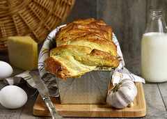 Cheese garlic pull-apart bread. (lilechka75) Tags: food cake cheese dill pie bread table pull baking wooden milk bottle drink background wheat board rustic style vegetable eat homemade bakery meal greens pastry garlic eggs spicy dairy yeast product bun apart