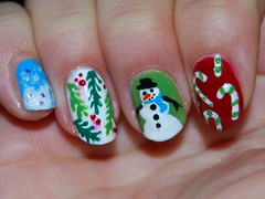 Christmas nails my sis painted on me (tiffanycsteinke) Tags: snowflake christmas xmas holiday snow art reindeer snowman nail nails nailart candycanes christmasnails melissahatesyou christmasfingernails