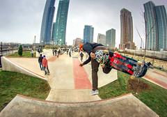Another Skater (PhotoJacko - Jackie Novak) Tags: city urban chicago skateboarding fisheye tricks skateboard club16 rokinon8mm grantparkskatepark