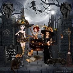 NONNI'S LITTLE WITCH IN TRAINING (Nonni_F) Tags: halloween cemetery grave digital cat witch ct class deviant artdoll mischief teach scrap broom gargole hocuspocus xquizart circusmischiefcircus calduron