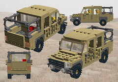 LR110 4DR Flatbed (Paradox Kid) Tags: 6x6 army lego offroad 4x4 military 4wd utility vehicle british landrover moc ldd 6wd