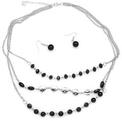5th Avenue Black Necklace P2120A-2