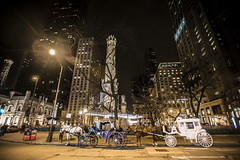 Your Carriages Await (Flipped Out) Tags: chicago watertower janembyrneplaza janebyrnepark