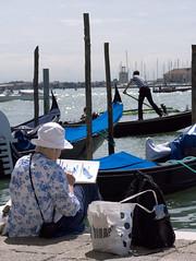Blue, Venice, Italy. 2014 (Matt Chambers) Tags: blue venice italy azul painting veneza barco sigma panasonic gondola 60mm blau venezia venedig pintor pittore remar gx1