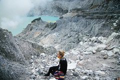 The power of colors. Ijen (Paulina Wierzgacz) Tags: trip travel blue light portrait sky people sun moon mountain lake mountains travelling nature girl night clouds sunrise work trekking trek landscape island fire climb java rocks asia view smoke magic tourist traveller adventure mount explore climbing journey crater valley sulfur miner vulcano reportage miners ijen kawah microadventure
