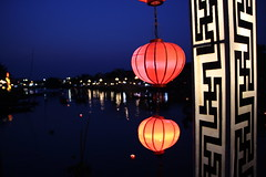 Hoi An lanterns on the river (Bex.Walton) Tags: travel bridge night river vietnam hoian lanterns