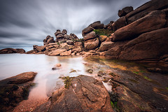 Granitic World IX (Tony N.) Tags: world longexposure sea sky bw mer beach clouds rocks bretagne ciel armor britanny nuages plage ix rochers vanguard granitic ploumanach pinkgranitecoast poselongue ctedarmor d810 nd110 cotedegraniterose armorcoast nikkor1635f4 graniticworld timetobeexplored