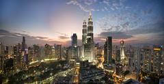 Kuala Lumpur Cityscapes Panorama (Nik Najmuddin Nik Ariff) Tags: city sunset urban architecture wow cityscapes malaysia kualalumpur brilliant klcc kualalumpurcitycentre canonflickraward asiacityscapes