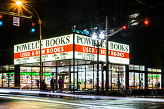 Powells (pillarsoflight) Tags: new longexposure pink blue windows light red orange white green glass beauty shop night oregon silver dark portland prime store aperture nikon traffic large entrance books used adobe huge pdx stoplight 18 35 pnw powells lightroom d3300
