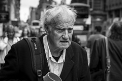 Rugged (Leanne Boulton) Tags: life street old city uk light shadow portrait people urban blackandwhite bw white man black detail male texture monochrome face look canon 50mm mono scotland living blackwhite natural emotion humanity bokeh outdoor expression glasgow candid injury culture streetphotography streetlife scene plaster depthoffield human elderly shade portraiture 7d aged feeling society tone facial rugged candidportrait candidstreetphotography