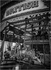 Southport carousel (Pitheadgear) Tags: uk blackandwhite bw monochrome mono fairgrounds seaside holidays northwest fairground carousel lancashire resort rides resorts southport merseyside carousels sefton