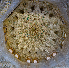 The Alhambra, Granada - Palacios Nazares - Palacio de los Leones - Patio de los Leones (Court of the Lions), ceiling of the Sala de dos Hermanas (Hall of the Two Sisters), the oldest room of the courtyard and its visual climax with 5000 mocarabe cells (peripathetic) Tags: building beauty architecture canon buildings spain worldheritagesite espana alhambra moorish granada 5d palaces 2016 nasrid nazaries 5dmkiii 5dmk3 canoneos5dmk3