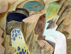 Crayon & Watercolour Drawing of Little Qualicum Falls on Vancouver Island (elizabatz.jensen) Tags: waterfall rocks drawing falls vancouverisland watercolour crayon rockformations littlequalicumfalls