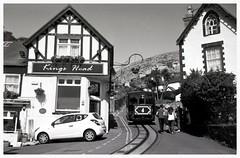 Clacky on holiday (Towner Images) Tags: blackandwhite bw holiday 120 film monochrome wales monotone ilford llandudno victoriastation agfaclack northwalescoast tyrolean 125iso towner greatormetramway tramfforddygogarth townerimages clackymcclackface