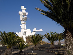 Monumento al Campasino (Monument to the Peasant) (GreyFlash) Tags: blue cactus sky sun white black colour art monument sunshine cacti palms outside island artist gallery monumento central lanzarote landmark foundation cesar peasant manrique fundacion campasino