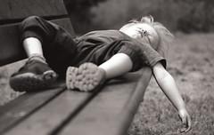 Flat out (Chris Johnston Photography) Tags: park summer monochrome kids bench children pentax tired asleep knackered countrywalk k1 flatout pentaxk1 pentaxart