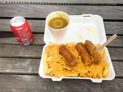 (willdashsuttondotcom) Tags: shop cuisine scotland heart sauce scottish coke away curry chips sausages take chip takeaway cheesy cheesey chippy disease authentic chipshop battered scotlan mallaig