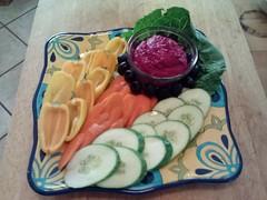 Vegetable Crudite W/Roasted Beet Hummus (Turtle's a La Cart) Tags: food farm fork vegetable sacramento organic hummus vender crudite turtlesalacart turtle66